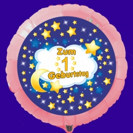 Luftballon aus Folie mit Ballongas Helium zum 1 Geburtstag
