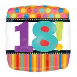 Luftballon aus Folie zum 18. Geburtstag, Happy 18TH Birthday, Dots and Stripes