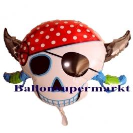 Luftballon Piratenkopf, Folienballon mit Ballongas