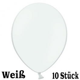 Luftballons 23 cm, Weiß, 10 Stück