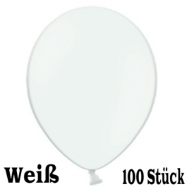 Luftballons 23 cm, Weiß, 100 Stück