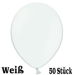 Luftballons 23 cm, Weiß, 50 Stück