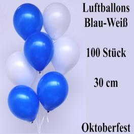 Luftballons Blau-Weiß, 30 cm, Oktoberfest Dekoration