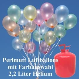 Luftballons-Helium-Einweg-Set-Hochzeit-50-Perlmutt-Luftballons-Farbauswahl-2.2-Liter-Einweg-Helium
