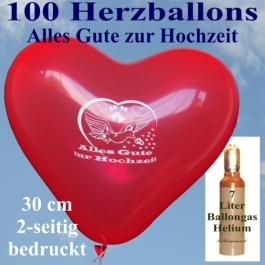 Luftballons Helium Set, 100 rote Herzluftballons 30 cm, Alles Gute zur Hochzeit, 7 Liter Ballongasflasche