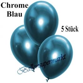 Luftballons in Chrome Blau, 28-30 cm, 5 Stück