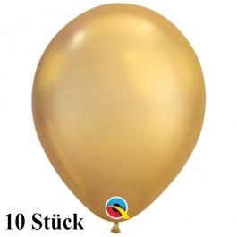 Qualatex Luftballons in Chrome Gold, 27,5 cm, 10 Stück