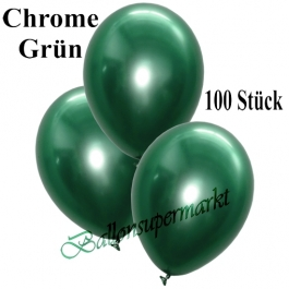 Luftballons in Chrome Grün, 28-30 cm, 100 Stück