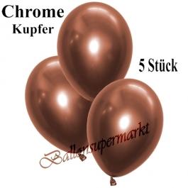 Luftballons in Chrome Kupfer, 28-30 cm, 5 Stück