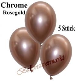 Luftballons in Chrome Rose Gold, 28-30 cm, 5 Stück