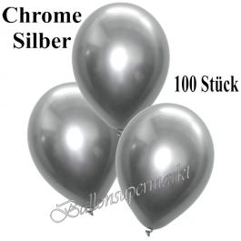 Luftballons in Chrome Silber, 28-30 cm, 100 Stück