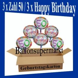 Luftballons mit Helium zum 50. Geburtstag, 3 Luftballons Happy Birthday und 3 Luftballons mit der Zahl 50