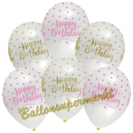 Pink Chic Happy Birthday, Luftballons zum Geburtstag