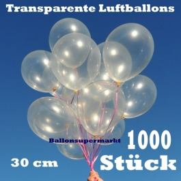 Luftballons Transparent, 30 cm, 1000 Stück