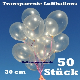 Luftballons Transparent, 30 cm, 50 Stück
