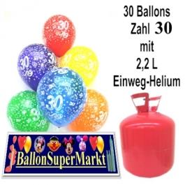 30 Luftballons Zahl 30 zum 30. Geburtstag mit dem Helium-Einwegbehälter