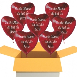 Danke Mama, du bist die Beste! 7 Luftballons in Herzform aus Folie mit Helium zum Muttertag