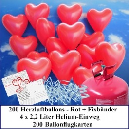 Luftballons zur Hochzeit steigen lassen, 200 rote Herzluftballons Helium-Einweg Set mit Ballonflugkarten