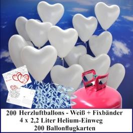 Luftballons zur Hochzeit steigen lassen, 200 weiße Herzluftballons Helium-Einweg Set mit Ballonflugkarten
