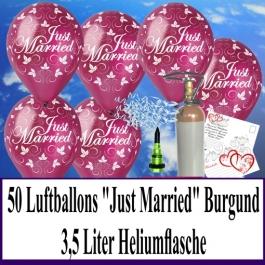 Luftballons zur Hochzeit steigen lassen, 50 Luftballons Just Married, burgund, mit der 3,5 Liter Ballongas-Heliumflasche