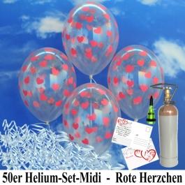Luftballons zur Hochzeit steigen lassen, 50 Luftballons Transparent mit roten Herzen, mit der 3,5 Liter Ballongas-Heliumflasche
