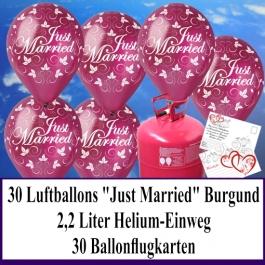 Luftballons zur Hochzeit steigen lassen, Rundluftballons burgund, Just Married, Helium-Einweg Set mit Ballonflugkarten