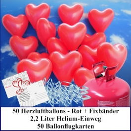 Luftballons zur Hochzeit steigen lassen, rote Herzluftballons Helium-Einweg Set mit Ballonflugkarten