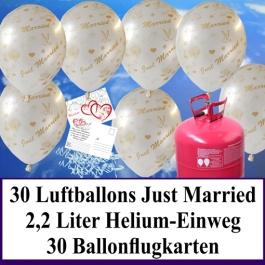 Luftballons zur Hochzeit steigen lassen, weiße Rundluftballons Just Married, Helium-Einweg Set mit Ballonflugkarten