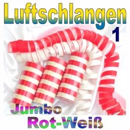Luftschlangen Jumbo Rot-Weiß, 1 Rolle