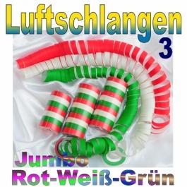 Luftschlangen Jumbo rot-weiß-grün, 3 Rollen