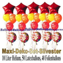 Maxi-Deko-Set-Silvester-Ballons-Einweg-Helium-Happy-New-Year