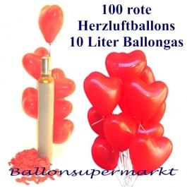 Luftballons zur Hochzeit steigen lassen, 100 rote Herzluftballons mit 10 Liter Ballongas Helium