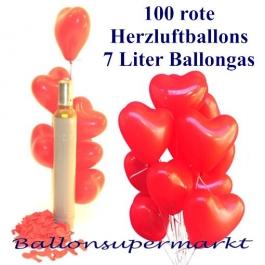 Luftballons zur Hochzeit steigen lassen, 100 rote Herzluftballons mit 7 Liter Ballongas Helium