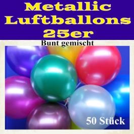 Metallic Luftballons bunt gemischt, 50 Stück, 25-28 cm