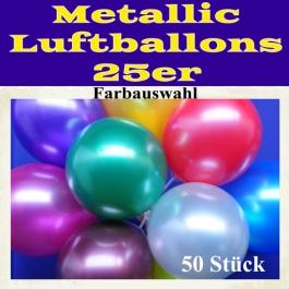 Metallic Luftballons mit Farbauswahl, 50 Stück, 25-28 cm