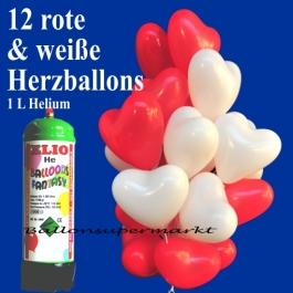 Mini-Ballons-Helium-Set-Hochzeit-rote-und-weisse-Herzluftballons-1-Liter-Ballongas