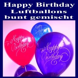 Happy Birthday Motiv Luftballons, Latexballons zum Geburtstag, 10 Stück Beutel