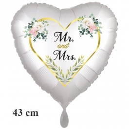 Mr. & Mrs. Golden Heart and Flowers, Herzluftballon, satinweiss, ohne Helium zur Hochzeit