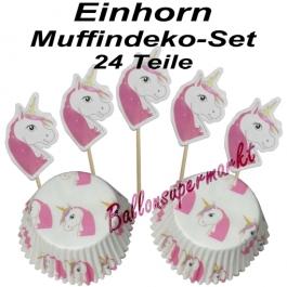 Einhorn Muffinset zum Kindergeburtstag, 24 Teile