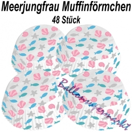 Muffinförmchen Be a Mermaid, Dekoration zum Kindergeburtstag