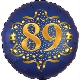Satin Navy Blue Zahl 89 Luftballon aus Folie zum 89. Geburtstag, 45 cm, Satin Luxe, heliumgefüllt