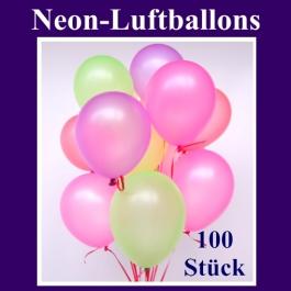 Neon-Luftballons, 20 cm, 100 Stück