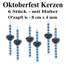 Oktoberfest Kerzen, O'zapft is, 6 Kerzen mit Halter, Bayrische Rauten, Tischdekoration
