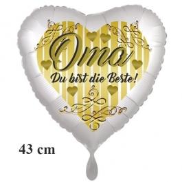 Oma Du bist die Beste! Herzluftballon aus Folie, 43 cm, satinweiß, ohne Ballongas-Helium