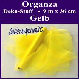 Organza Deko-Stoff, Gelb, 9 Meter x 36 cm