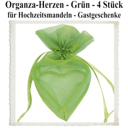Organza-Herz Grün für Hochzeitsmandeln und Gastgeschenke