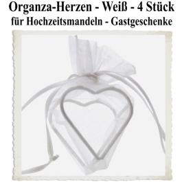 Organza-Herz Weiß für Hochzeitsmandeln und Gastgeschenke