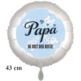 Papa DU BIST DER BESTE! Runder Luftballon in 43 cm, satinweiß, ohne Helium