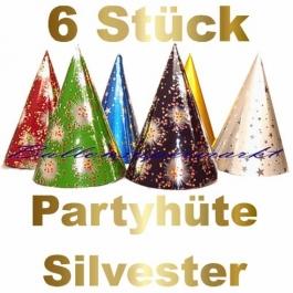 Partyhüte Silvester, 6 Stück