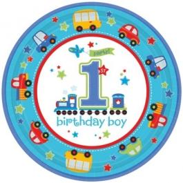 8 Partyteller zum 1. Geburtstag eines Jungen, All Aboard Birthday Boy